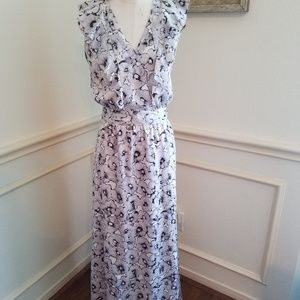 Banana Republic gray floral maxi dress